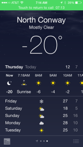 OK…so it was just a little cold last night.